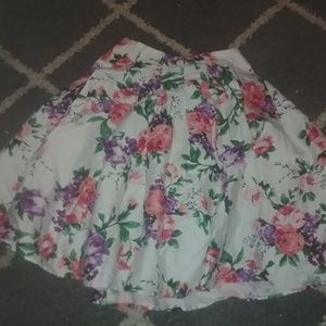 Grace Karin Pleated Floral Skirt back zip S
